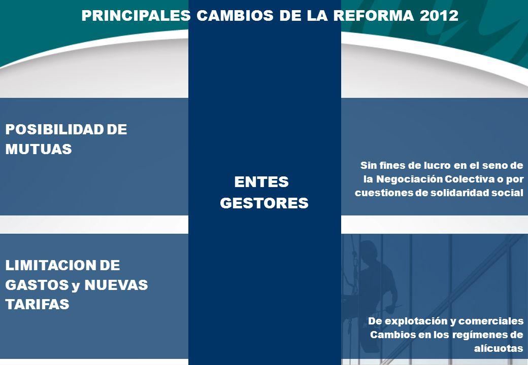 LIMITACION DE GASTOS y NUEVAS TARIFAS De explotación y comerciales Cambios en los regímenes de alícuotas POSIBILIDAD DE MUTUAS Sin fines de lucro en el seno de la Negociación Colectiva o por cuestiones de solidaridad social ENTES GESTORES PRINCIPALES CAMBIOS DE LA REFORMA 2012