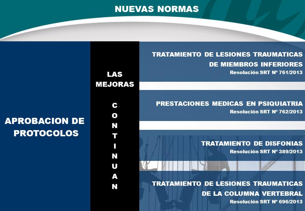 NUEVAS NORMAS TRATAMIENTO DE LESIONES TRAUMATICAS DE MIEMBROS INFERIORES Resolución SRT Nº 761/2013 APROBACION DE PROTOCOLOS PRESTACIONES MEDICAS EN PSIQUIATRIA Resolución SRT Nº 762/2013 TRATAMIENTO DE DISFONIAS Resolución SRT Nº 389/2013 TRATAMIENTO DE LESIONES TRAUMATICAS DE LA COLUMNA VERTEBRAL Resolución SRT Nº 696/2013 LAS MEJORAS C O N T I N U A N