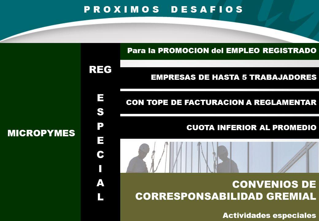 MICROPYMES CONVENIOS DE CORRESPONSABILIDAD GREMIAL Actividades especiales EMPRESAS DE HASTA 5 TRABAJADORES CON TOPE DE FACTURACION A REGLAMENTAR CUOTA INFERIOR AL PROMEDIO Para la PROMOCION del EMPLEO REGISTRADO P R O X I M O S D E S A F I O S REG E S P E C I A L