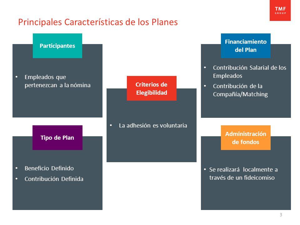 3 Principales Características de los Planes Beneficio Definido Contribución Definida Empleados que pertenezcan a la nómina Contribución Salarial de los Empleados Contribución de la Compañía/Matching Se realizará localmente a través de un fideicomiso Tipo de Plan Financiamiento del Plan Administración de fondos Participantes La adhesión es voluntaria Criterios de Elegibilidad