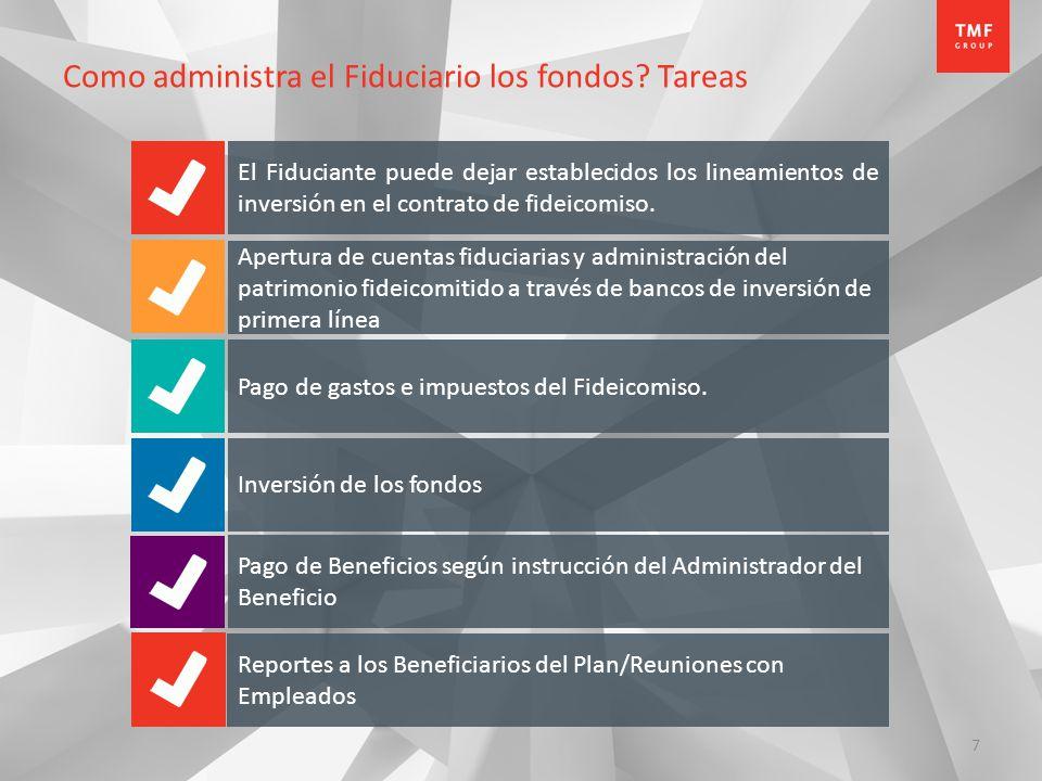 7 Como administra el Fiduciario los fondos? Tareas El Fiduciante puede dejar establecidos los lineamientos de inversión en el contrato de fideicomiso.