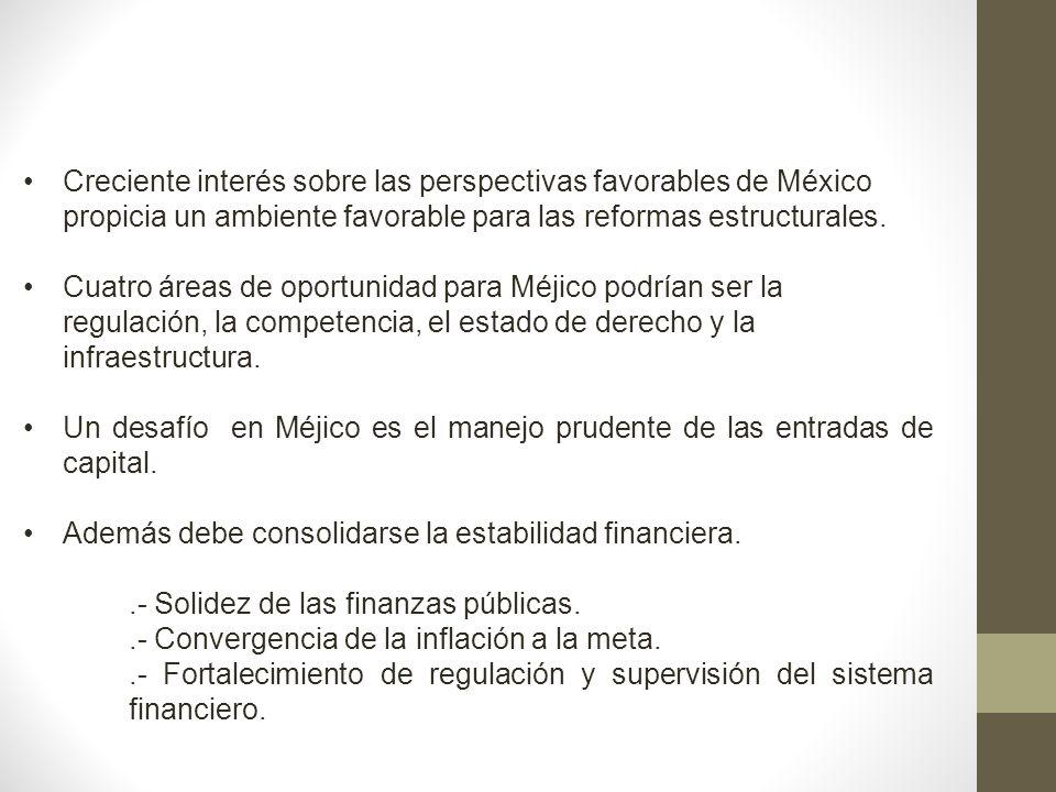 Creciente interés sobre las perspectivas favorables de México propicia un ambiente favorable para las reformas estructurales. Cuatro áreas de oportuni