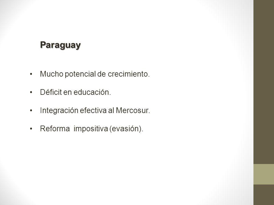 Paraguay Mucho potencial de crecimiento. Déficit en educación. Integración efectiva al Mercosur. Reforma impositiva (evasión).