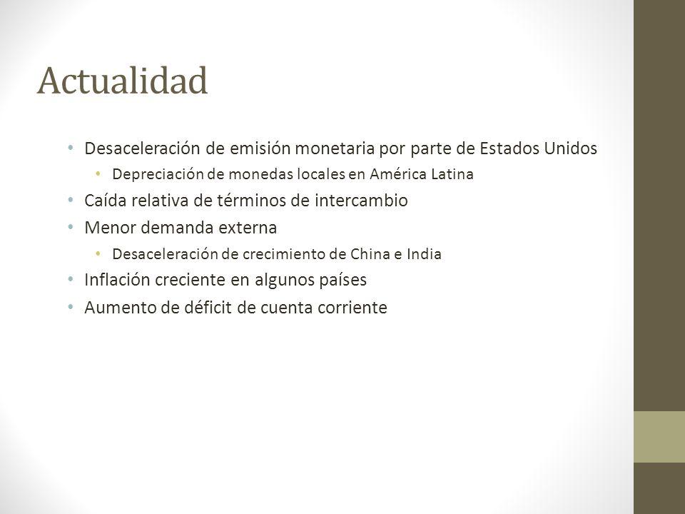 Actualidad Desaceleración de emisión monetaria por parte de Estados Unidos Depreciación de monedas locales en América Latina Caída relativa de término