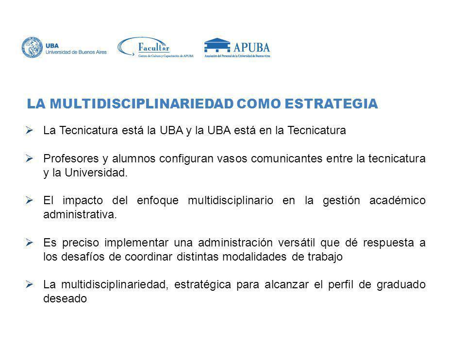 La Tecnicatura está la UBA y la UBA está en la Tecnicatura Profesores y alumnos configuran vasos comunicantes entre la tecnicatura y la Universidad. E