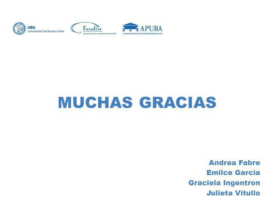 MUCHAS GRACIAS Andrea Fabre Emilce Garcia Graciela Ingentron Julieta Vitullo