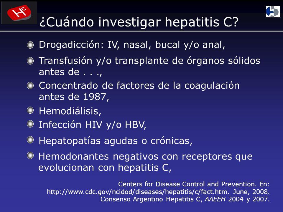 Drogadicción: IV, nasal, bucal y/o anal, Transfusión y/o transplante de órganos sólidos antes de..., Concentrado de factores de la coagulación antes de 1987, Hemodiálisis, Infección HIV y/o HBV, Hepatopatías agudas o crónicas, Hemodonantes negativos con receptores que evolucionan con hepatitis C, ¿Cuándo investigar hepatitis C.