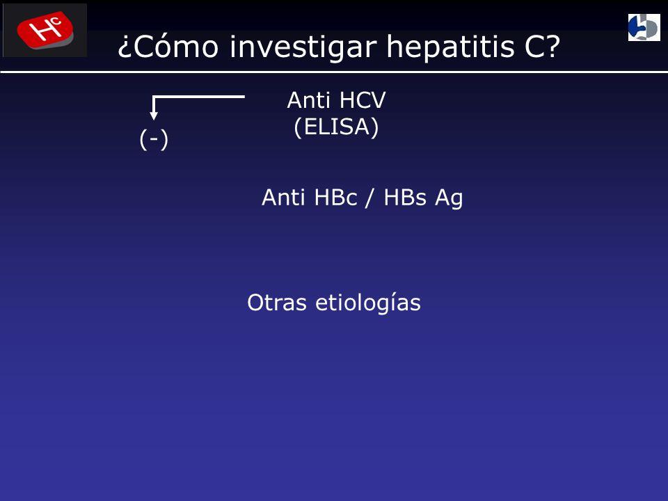 ¿Cómo investigar hepatitis C? Anti HCV (ELISA) (-) Anti HBc / HBs Ag Otras etiologías