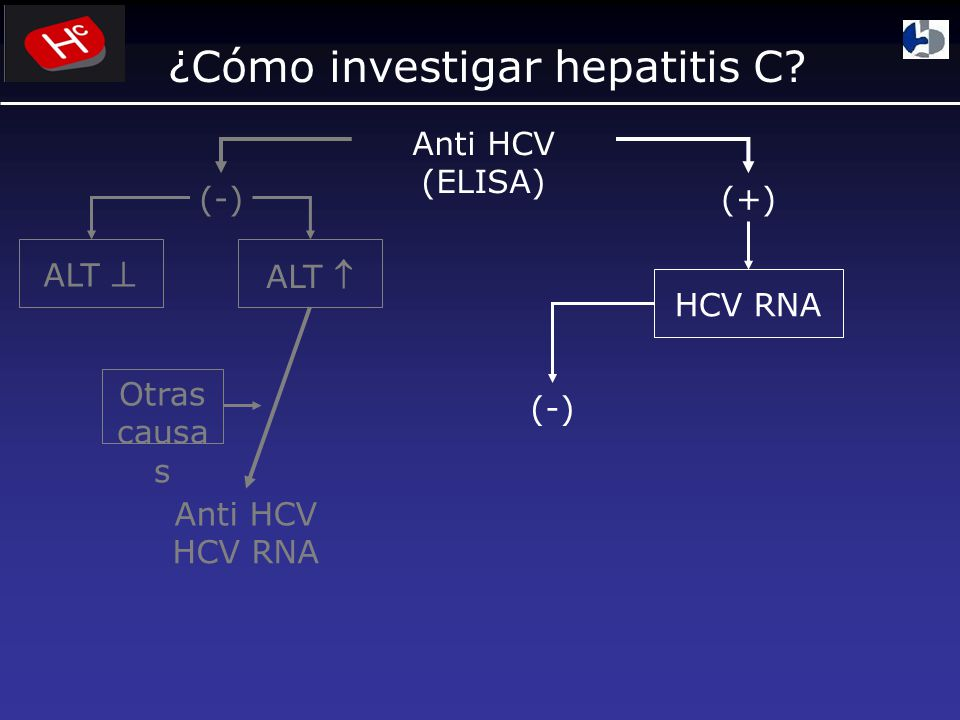 ¿Cómo investigar hepatitis C? Anti HCV (ELISA) (-)(+) ALT Anti HCV HCV RNA (-) Otras causa s