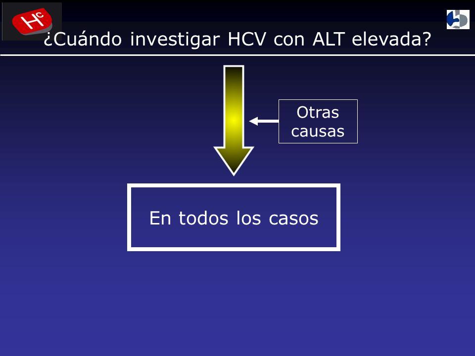¿Cuándo investigar HCV con ALT elevada? En todos los casos Otras causas