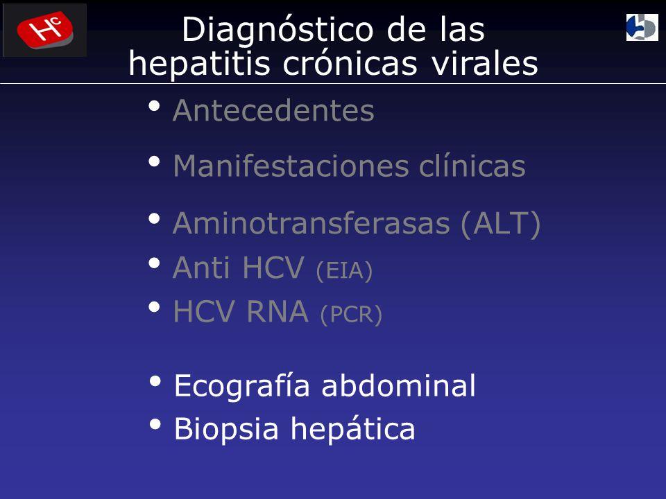 Anti HCV (EIA) Manifestaciones clínicas HCV RNA (PCR) Aminotransferasas (ALT) Ecografía abdominal Biopsia hepática Antecedentes Diagnóstico de las hepatitis crónicas virales