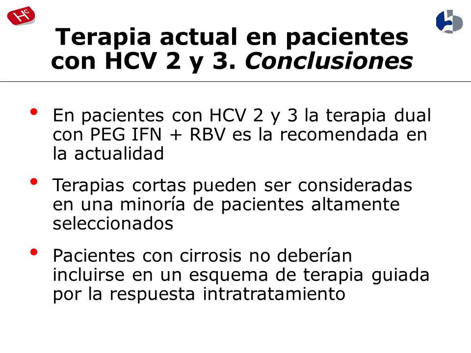 En pacientes con HCV 2 y 3 la terapia dual con PEG IFN + RBV es la recomendada en la actualidad Terapias cortas pueden ser consideradas en una minoría de pacientes altamente seleccionados Pacientes con cirrosis no deberían incluirse en un esquema de terapia guiada por la respuesta intratratamiento Terapia actual en pacientes con HCV 2 y 3.