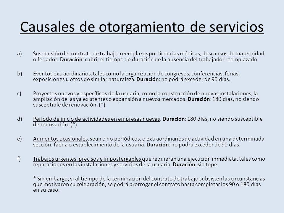 Causales de otorgamiento de servicios a)Suspensión del contrato de trabajo: reemplazos por licencias médicas, descansos de maternidad o feriados.