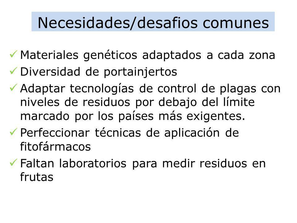 Necesidades/desafios comunes Materiales genéticos adaptados a cada zona Diversidad de portainjertos Adaptar tecnologías de control de plagas con nivel