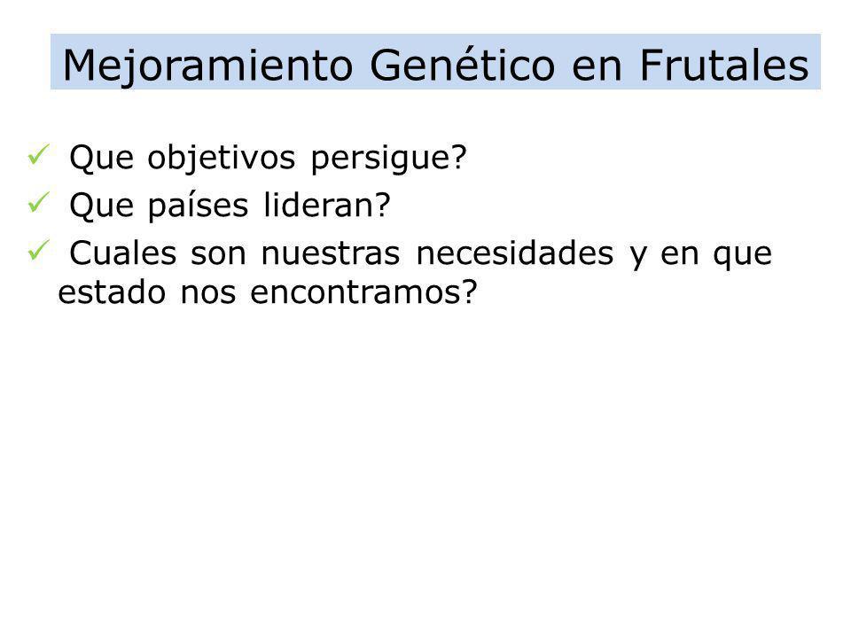 Mejoramiento Genético en Frutales Que objetivos persigue? Que países lideran? Cuales son nuestras necesidades y en que estado nos encontramos?