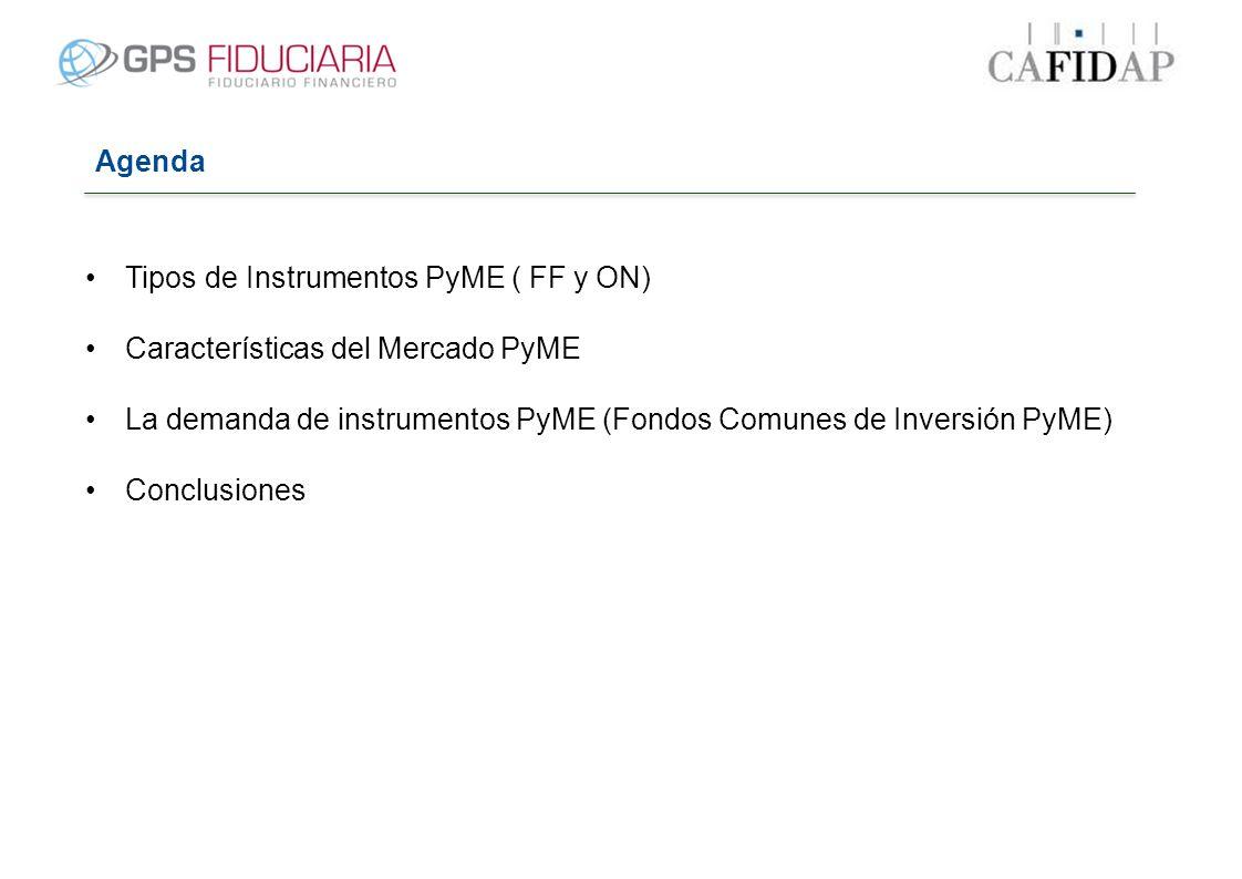Agenda Tipos de Instrumentos PyME ( FF y ON) Características del Mercado PyME La demanda de instrumentos PyME (Fondos Comunes de Inversión PyME) Concl