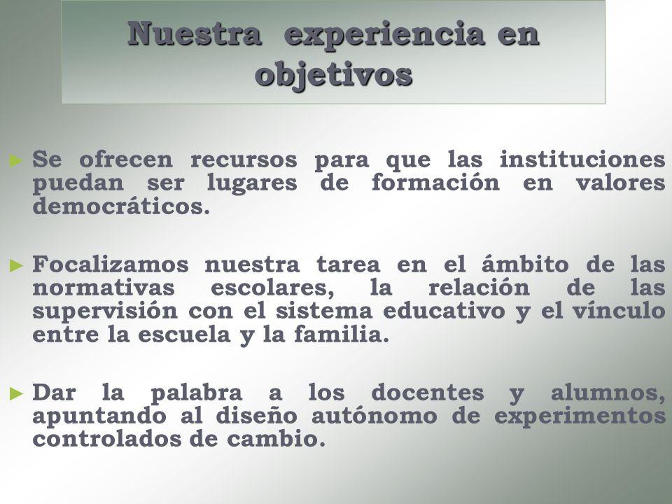 Nuestra experiencia en objetivos Se ofrecen recursos para que las instituciones puedan ser lugares de formación en valores democráticos. Focalizamos n