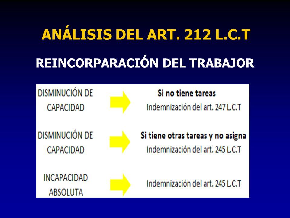 ANÁLISIS DEL ART. 212 L.C.T REINCORPARACIÓN DEL TRABAJOR