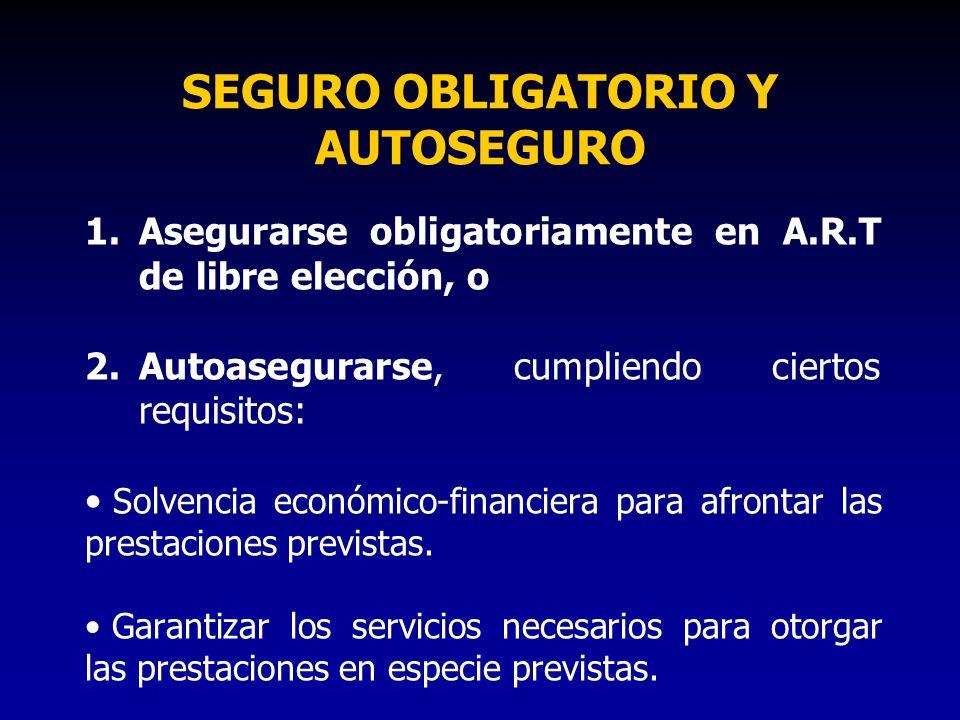 SEGURO OBLIGATORIO Y AUTOSEGURO 1.Asegurarse obligatoriamente en A.R.T de libre elección, o 2.Autoasegurarse, cumpliendo ciertos requisitos: Solvencia