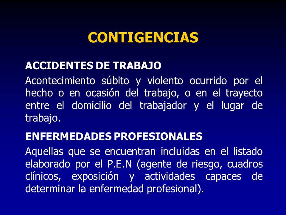 CONTIGENCIAS ACCIDENTES DE TRABAJO Acontecimiento súbito y violento ocurrido por el hecho o en ocasión del trabajo, o en el trayecto entre el domicili