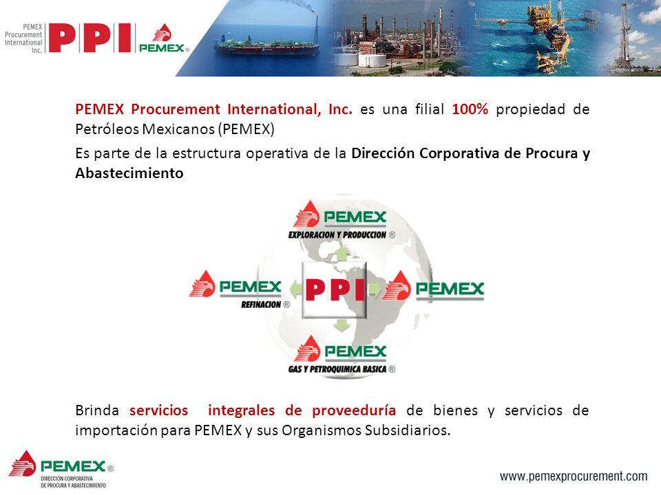 PEMEX Procurement International, Inc. es una filial 100% propiedad de Petróleos Mexicanos (PEMEX) Es parte de la estructura operativa de la Dirección