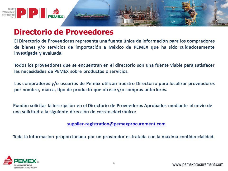 6 El Directorio de Proveedores representa una fuente única de información para los compradores de bienes y/o servicios de importación a México de PEME