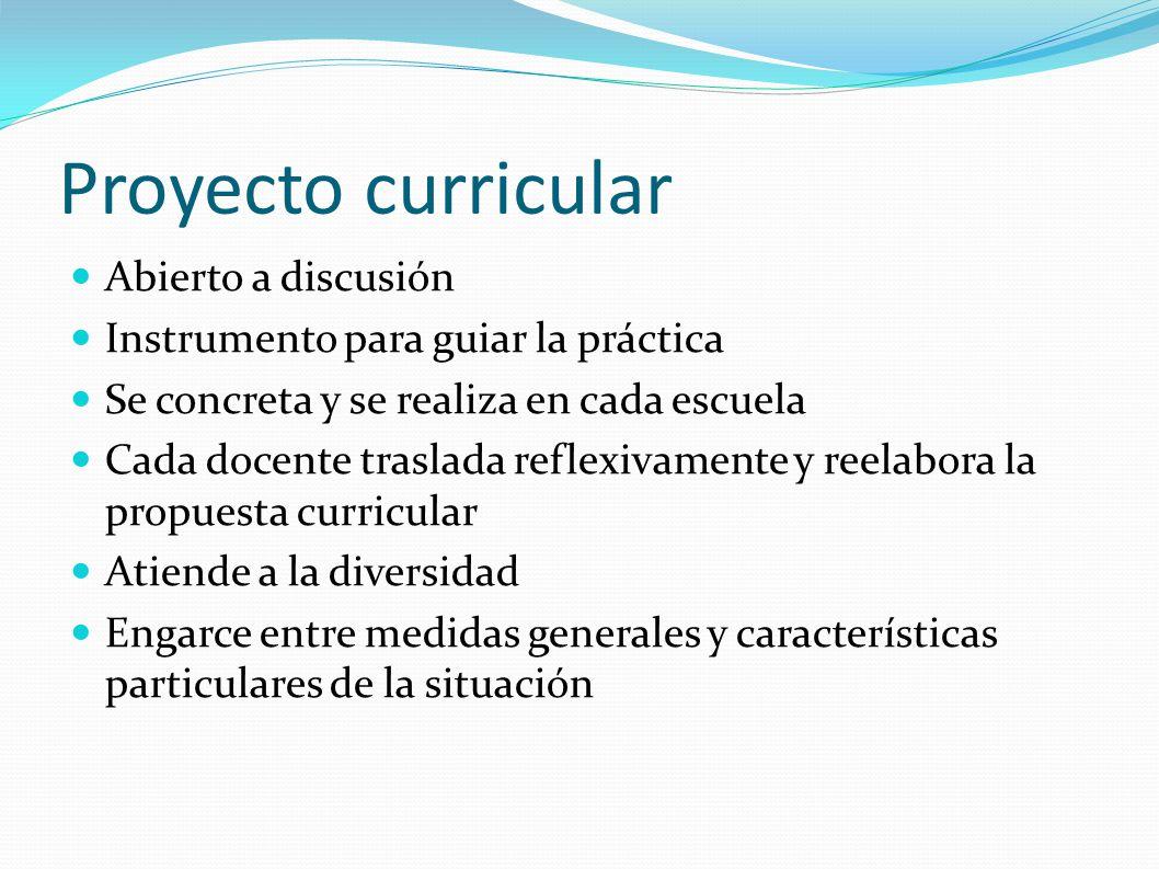 Proyecto curricular Abierto a discusión Instrumento para guiar la práctica Se concreta y se realiza en cada escuela Cada docente traslada reflexivamen
