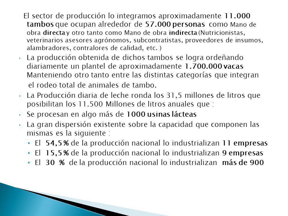 El sector de producción lo integramos aproximadamente 11.000 tambos que ocupan alrededor de 57.000 personas como Mano de obra directa y otro tanto como Mano de obra indirecta (Nutricionistas, veterinarios asesores agrónomos, subcontratistas, proveedores de insumos, alambradores, contralores de calidad, etc.