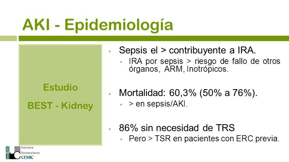 AKI - Epidemiología Estudio BEST - Kidney Sepsis el > contribuyente a IRA. IRA por sepsis > riesgo de fallo de otros órganos, ARM, Inotrópicos. Mortal