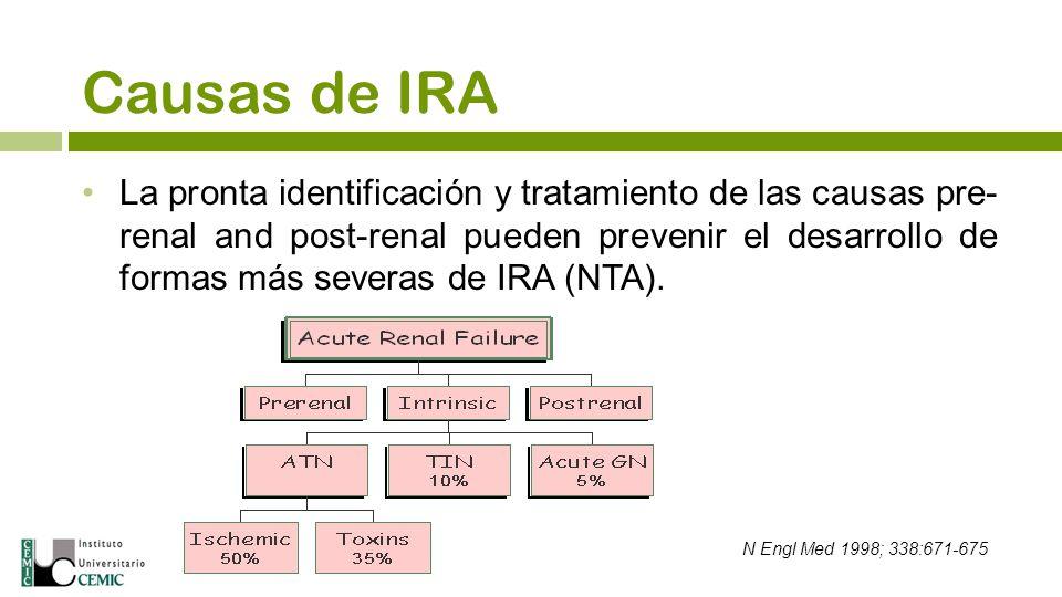 Causas de IRA La pronta identificación y tratamiento de las causas pre- renal and post-renal pueden prevenir el desarrollo de formas más severas de IR