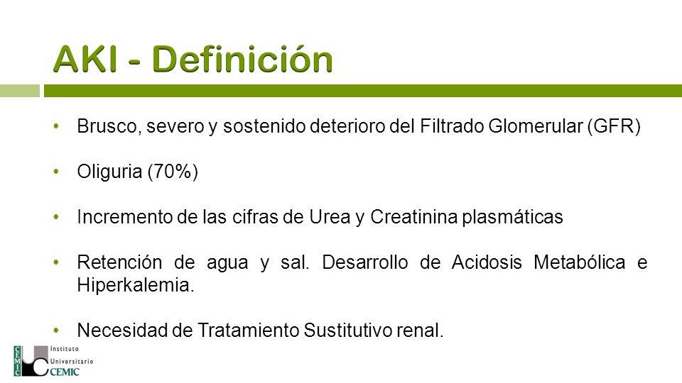 Brusco, severo y sostenido deterioro del Filtrado Glomerular (GFR) Oliguria (70%) Incremento de las cifras de Urea y Creatinina plasmáticas Retención