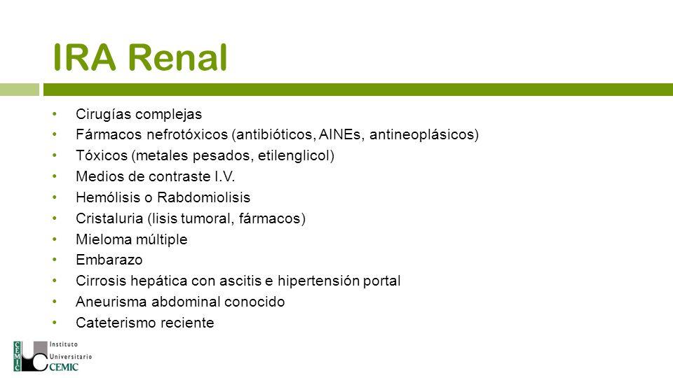 Cirugías complejas Fármacos nefrotóxicos (antibióticos, AINEs, antineoplásicos) Tóxicos (metales pesados, etilenglicol) Medios de contraste I.V. Hemól