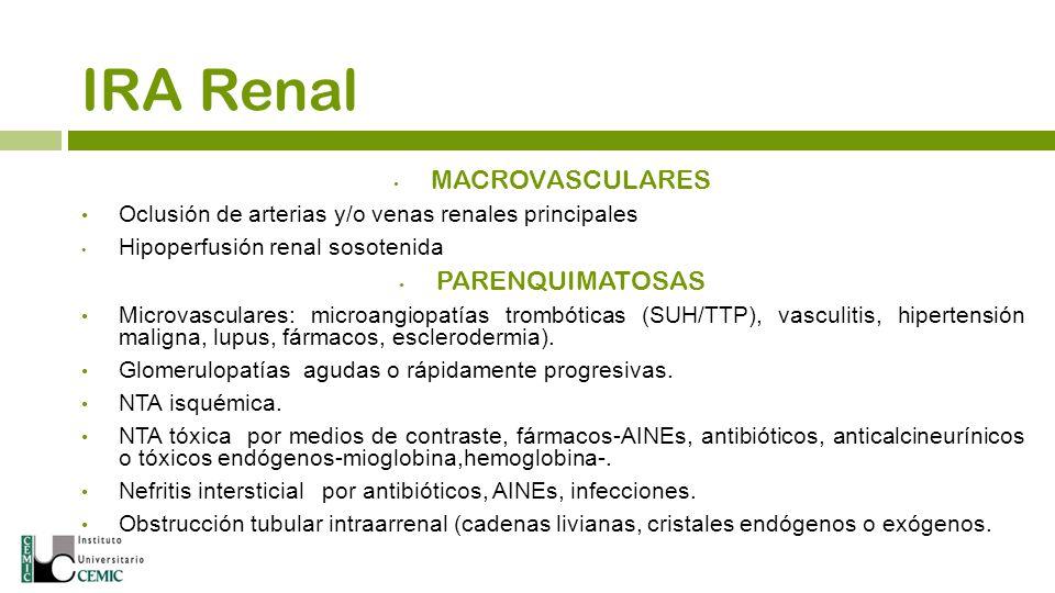MACROVASCULARES Oclusión de arterias y/o venas renales principales Hipoperfusión renal sosotenida PARENQUIMATOSAS Microvasculares: microangiopatías tr