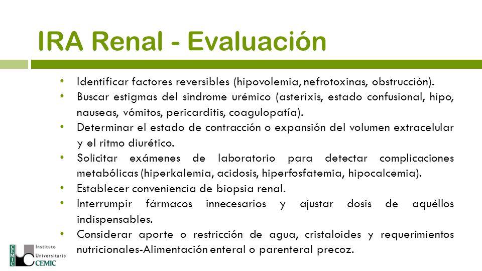 Identificar factores reversibles (hipovolemia, nefrotoxinas, obstrucción). Buscar estigmas del sindrome urémico (asterixis, estado confusional, hipo,