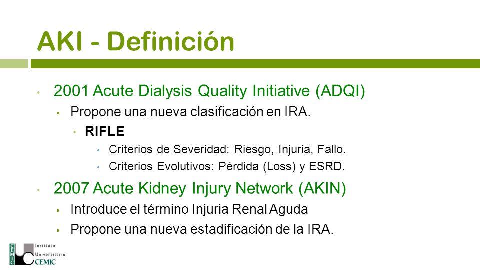 AKI - Definición 2001 Acute Dialysis Quality Initiative (ADQI) Propone una nueva clasificación en IRA. RIFLE Criterios de Severidad: Riesgo, Injuria,