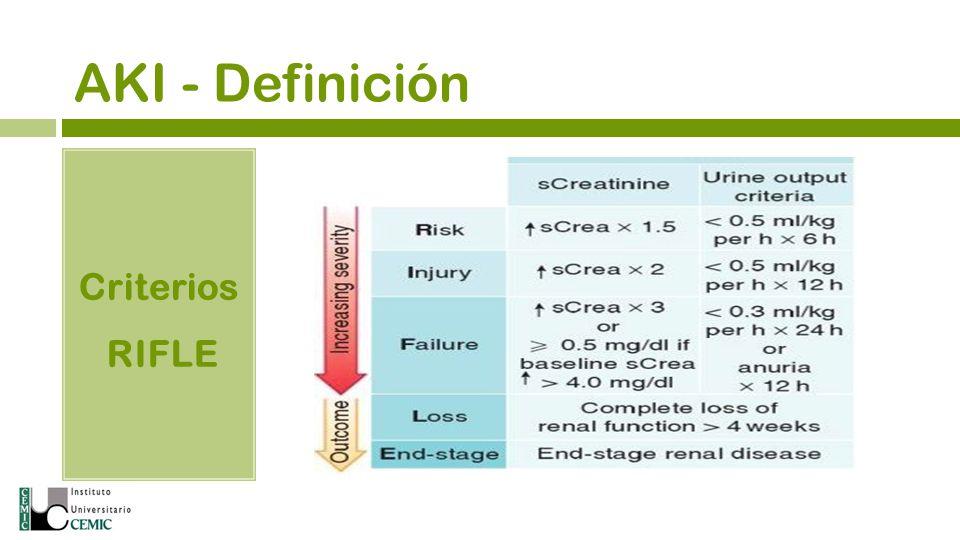 AKI - Definición Abrupta (48 hs) reducción de la función renal definida como el incremento absoluto de la Creat pl 0,3 mg/dl o un porcentaje al 50%, o una reducción del Volumen Urinario (referido como Oliguria a un Volumen Urinario a 6 horas).