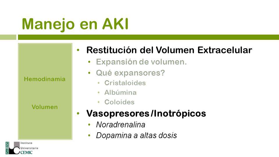 Manejo en AKI Hemodinamia Volumen Restitución del Volumen Extracelular Expansión de volumen. Qué expansores? Cristaloides Albúmina Coloides Vasopresor