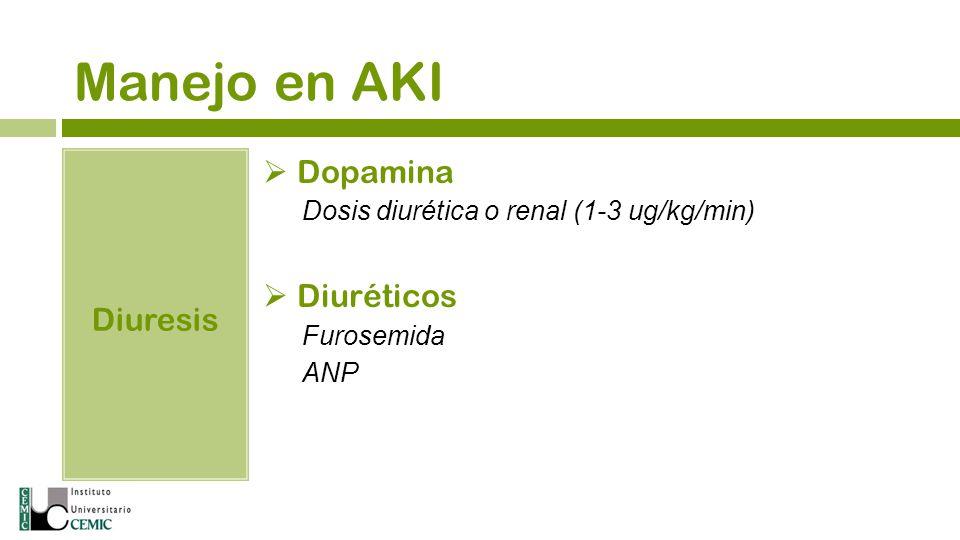 Manejo en AKI Diuresis Dopamina Dosis diurética o renal (1-3 ug/kg/min) Diuréticos Furosemida ANP