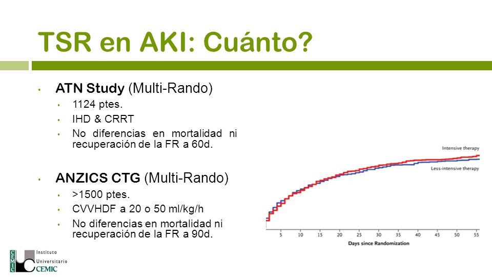 TSR en AKI: Cuánto? ATN Study (Multi-Rando) 1124 ptes. IHD & CRRT No diferencias en mortalidad ni recuperación de la FR a 60d. ANZICS CTG (Multi-Rando