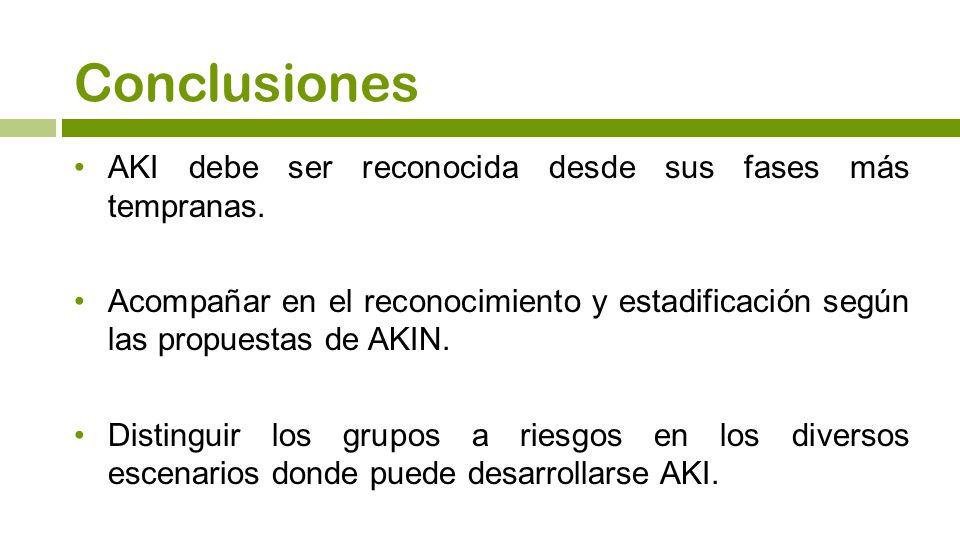 Conclusiones AKI debe ser reconocida desde sus fases más tempranas. Acompañar en el reconocimiento y estadificación según las propuestas de AKIN. Dist