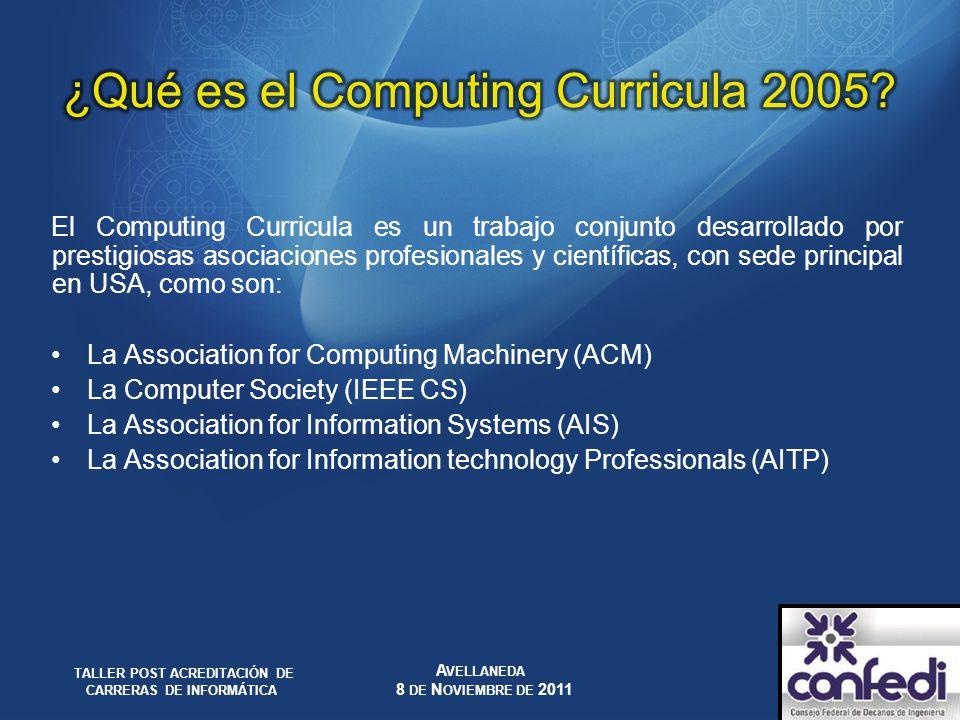 El Computing Curricula es un trabajo conjunto desarrollado por prestigiosas asociaciones profesionales y científicas, con sede principal en USA, como