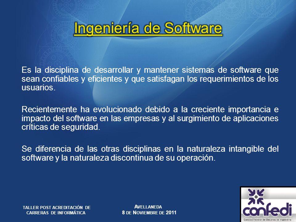 Es la disciplina de desarrollar y mantener sistemas de software que sean confiables y eficientes y que satisfagan los requerimientos de los usuarios.