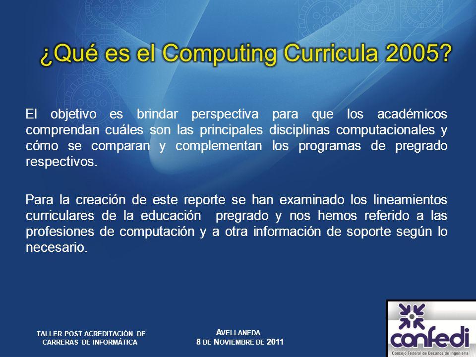 El objetivo es brindar perspectiva para que los académicos comprendan cuáles son las principales disciplinas computacionales y cómo se comparan y comp