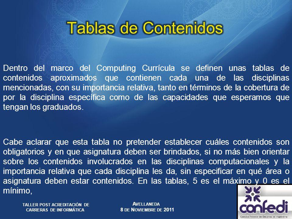 Dentro del marco del Computing Currícula se definen unas tablas de contenidos aproximados que contienen cada una de las disciplinas mencionadas, con s