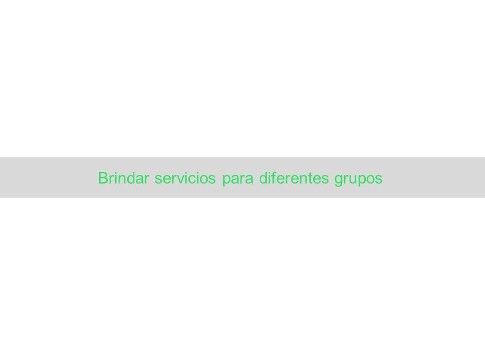 Brindar servicios para diferentes grupos
