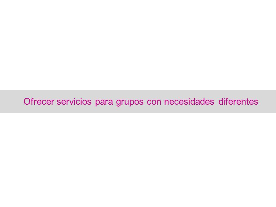 Ofrecer servicios para grupos con necesidades diferentes