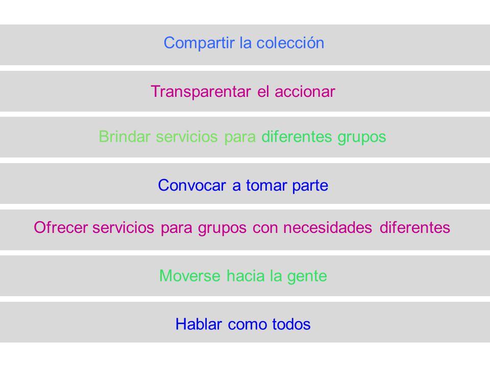 Hablar como todos Moverse hacia la gente Ofrecer servicios para grupos con necesidades diferentes Convocar a tomar parte Brindar servicios para diferentes grupos Transparentar el accionar Compartir la colección