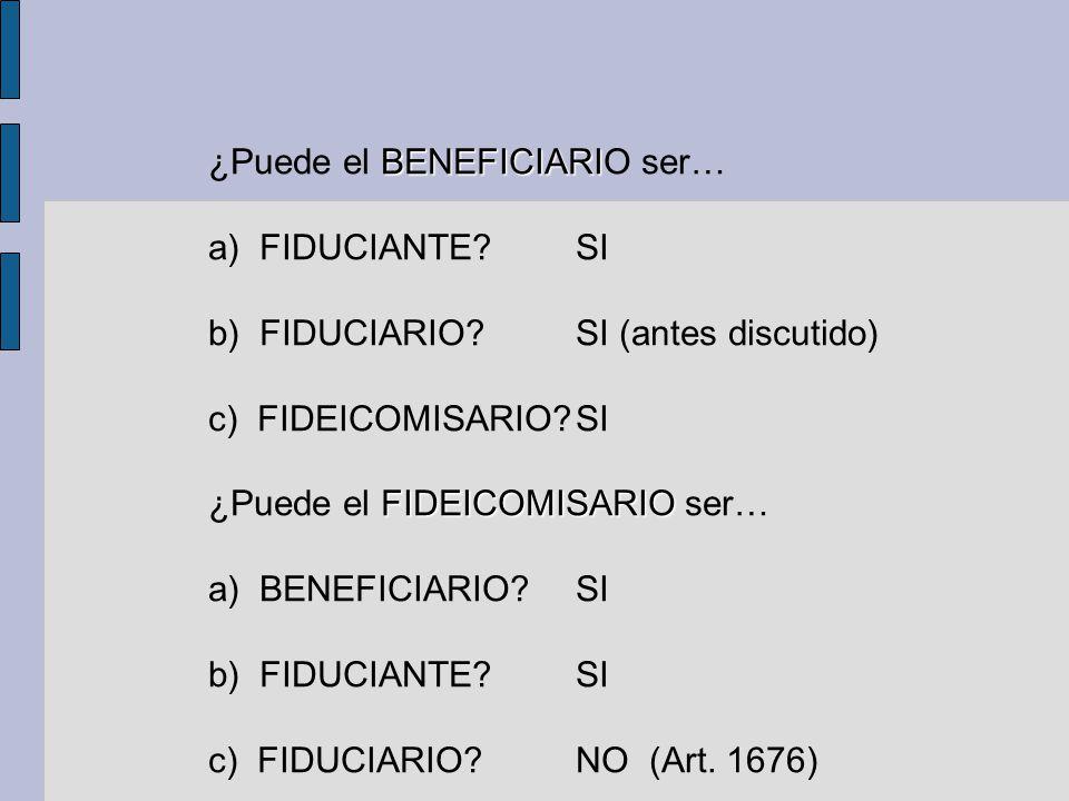 BENEFICIARI ¿Puede el BENEFICIARIO ser… a) FIDUCIANTE?SI b) FIDUCIARIO?SI (antes discutido) c) FIDEICOMISARIO?SI FIDEICOMISARIO ¿Puede el FIDEICOMISAR