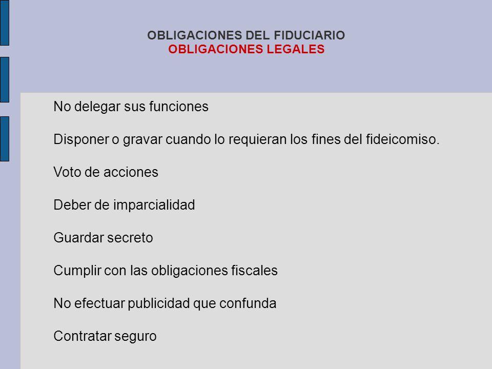 OBLIGACIONES DEL FIDUCIARIO OBLIGACIONES LEGALES No delegar sus funciones Disponer o gravar cuando lo requieran los fines del fideicomiso. Voto de acc