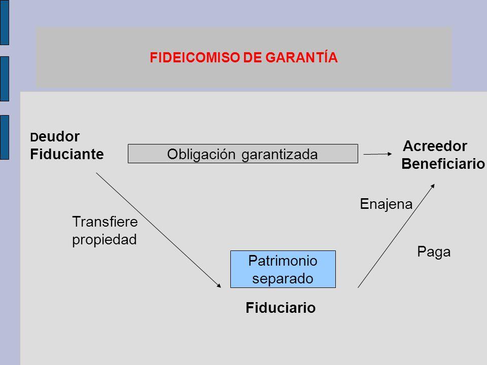 FIDEICOMISO DE GARANTÍA D eudor Fiduciante Acreedor Beneficiario Fiduciario Patrimonio separado Transfiere propiedad Enajena Paga Obligación garantiza